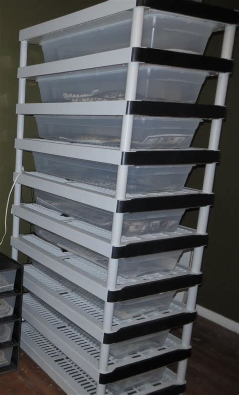 diy 9 tub breeder rack lightweight plastic shelving unit