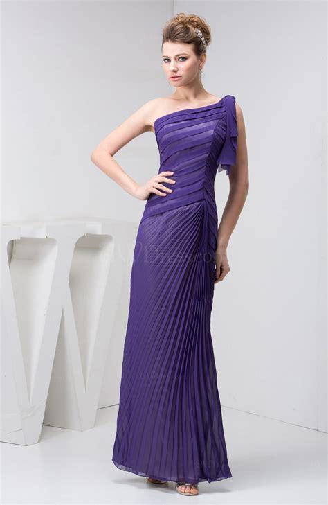 purple chiffon bridesmaid dress one shoulder pretty plain semi formal a line fall uwdress