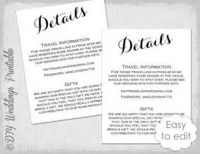 Wedding Information Sheet Template by Wedding Details Enclosure Template Diy Calligraphy