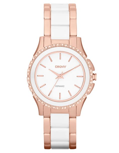 dkny white ceramic and gold tone stainless steel in pink gold lyst