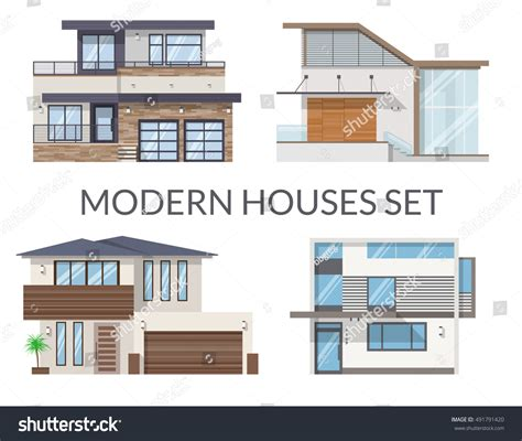modern houses set real estate signs stock vector 491791420