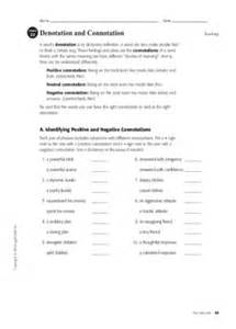 Connotation And Denotation Worksheets by Denotation And Connotation Denotation And Connotation