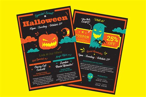 Halloween A5 Flyer Template For Indesign Including Vector Illustrations A5 Flyer Template