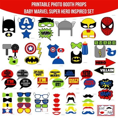 printable superhero photo booth props instant download baby marvel super hero inspired printable