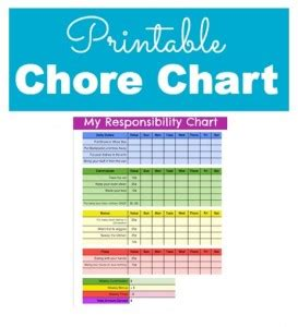 responsibility and chore chart for kids with printable