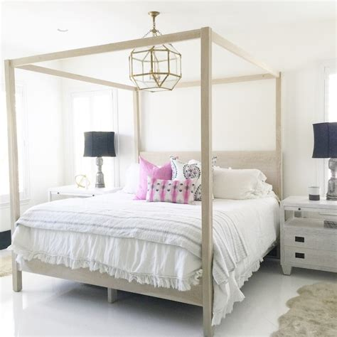 White Canopy Bed Gray Wash Canopy Bed With Gray Nightstands Transitional Bedroom