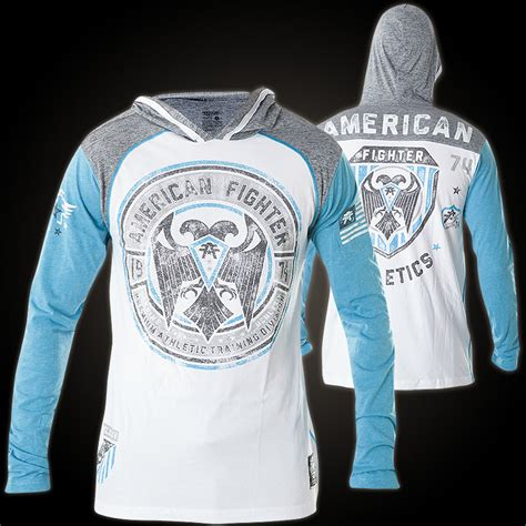 Hoodie Sweater Fighter Fei Grey Backfront Logo american fighter by affliction hoody with a crest and bird of prey
