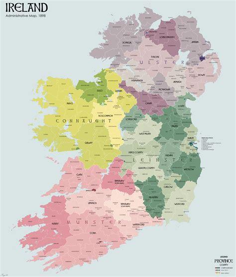 ireland county map irland karte gemeinden