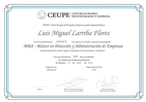 Diploma De Mba by 73 Mster En Administracin Y Direccin De Empresas Mba