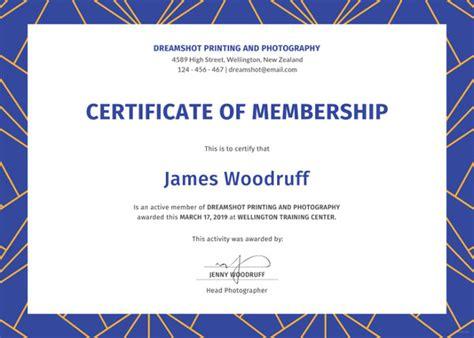 membership certificate template free membership certificate template 23 free word pdf