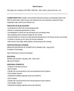 Cosmetology Resume Template by Cosmetologist Resume Template Resume Templates And