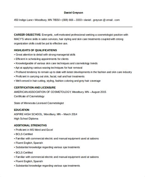 sle resume for esthetician student sle cosmetology resume 6 exles in pdf word