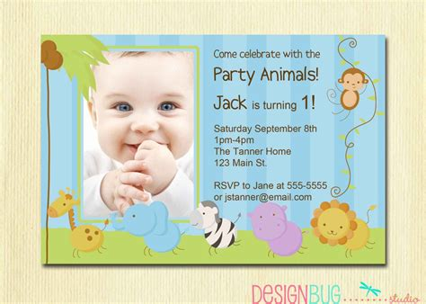 1st year birthday card template baby boy baptism invitation wording invitations card