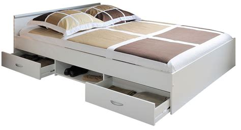 les tendances lit adulte 224 tiroirs blanc aldo