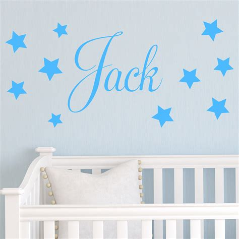 D201 Baby Boys Wall Sticker Personalised Stars Child Name