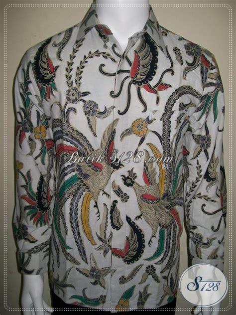 Batik Pria Katun Motif Burung batik pria warna putih tangan panjang motif burung cendrawasih eksklusif ld957bt m toko