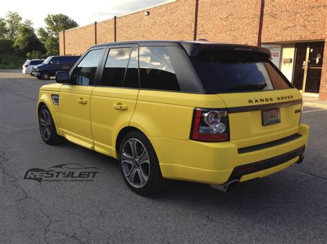 wrapped range rover autobiography matte yellow range rover sport autobiography vehicle