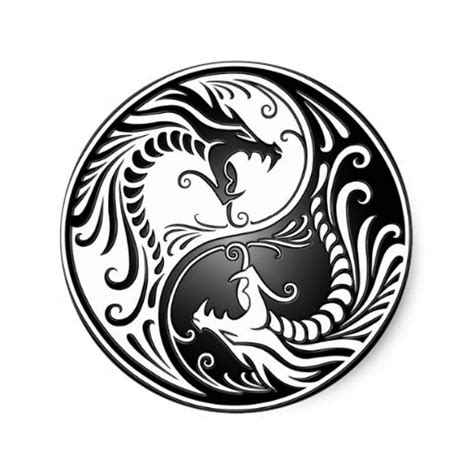 yin yang dragons classic round sticker zazzle