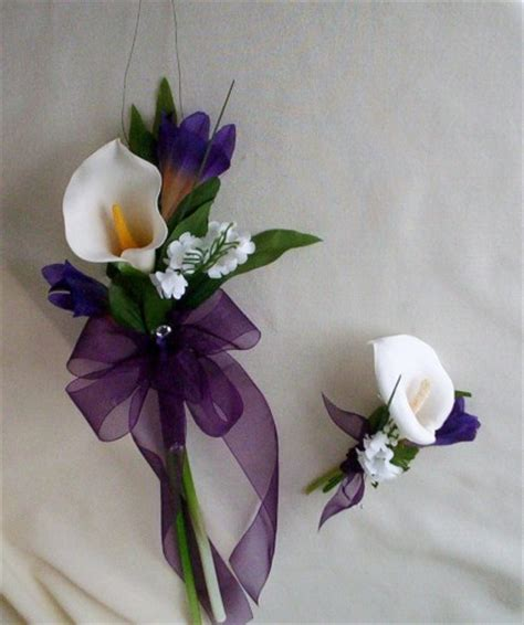 Bridal Bokay Flowers by Calla Lilly Bouquet Purple Wedding Flowers With