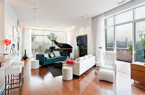 living room in brooklyn brooklyn penthouse with panoramic views