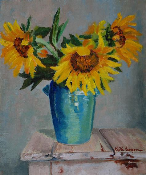Sunflowers In Vase by Sunflowers In Blue Vase Painting By Keith Burgess