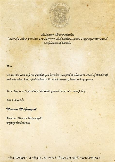 Harry Potter Acceptance Letter Date harry potter diy hogwarts acceptance letter https www