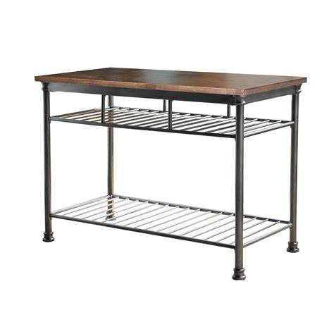 kitchen island metal home styles orleans butcher black kitchen island in gun metal 5061 94 the home depot