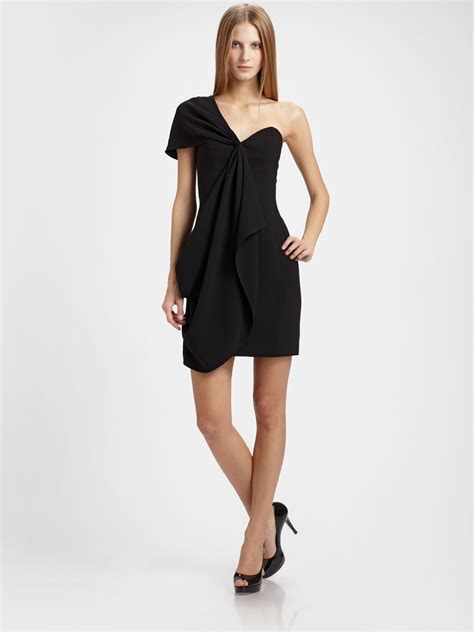 drape dress with one shoulder shoshanna draped one shoulder dress in black lyst