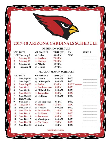 Cardinals Schedule 2018 Printable printable 2017 2018 arizona cardinals schedule