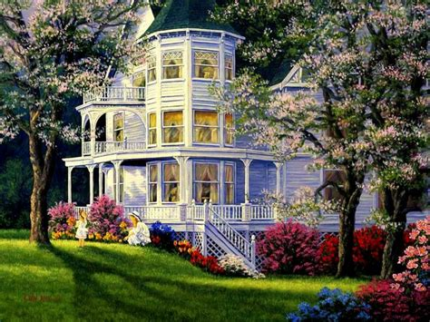 house portrait artist victorian house in springtime wallpaper and background