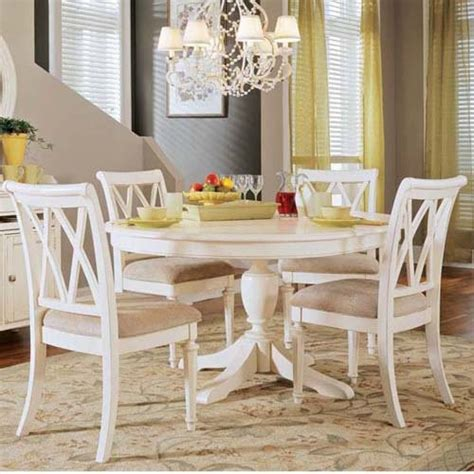 Round White Dining Room Table by American Drew Camden 5 Pc White Round Pedestal Dining