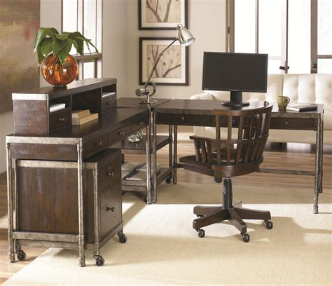metal table desk w 3 drawers by hammary wolf and