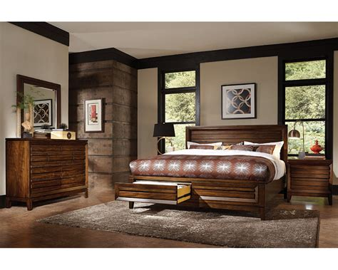 aspenhome bedroom set w panel storage bed walnut park