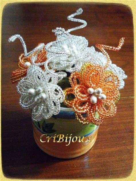 fiore con perline ciotola con fiori di perline argento e arancio cribijoux