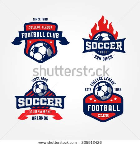 set of soccer football badge logo design templates sport