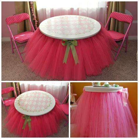 how to make a tulle table skirt diy no sew tulle tutu table skirt