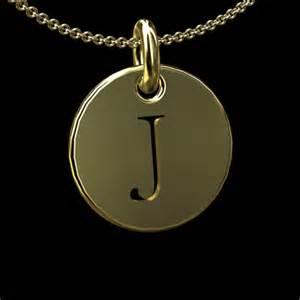 Engravable Necklace Initial Letter J 14k Solid Plain Disc Pendant Order Solid Initial Letter J Gold Disc 14k Solid