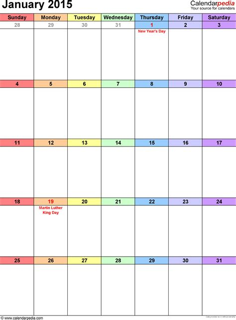Calendar 2015 January Template January 2015 Calendars For Word Excel Pdf