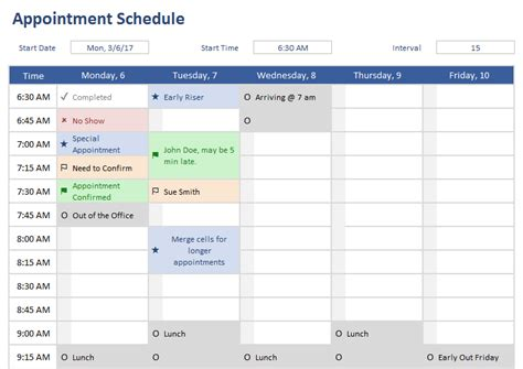 spreadsheet for appointment schedule calendar template 2016