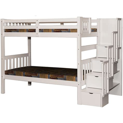 White Bunk Bed Twin Stairway Storage Wynn Beds Stairs Bunk Beds