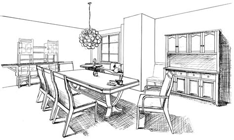 online room sketch how to draw a dining room www imgarcade com online