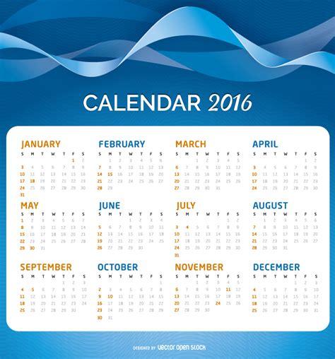 Calendar Con Calendario 2016 Sobre Un Fondo Abstracto Vector Gratis