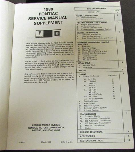 service manuals schematics 1978 pontiac grand prix electronic toll collection 1980 pontiac service manual supplement firebird lemans grand prix grand am