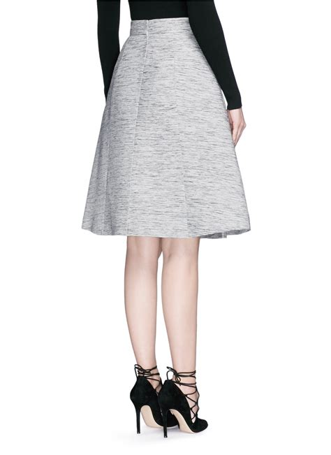 mcqueen inverted box pleat tweed flare skirt in