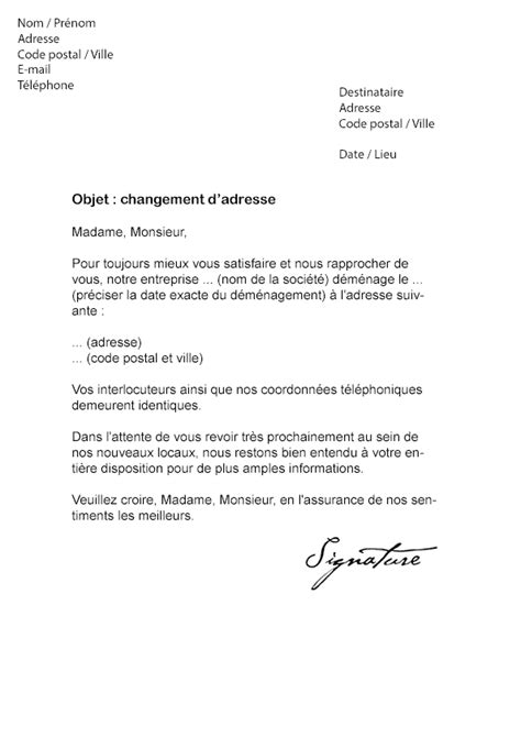 Entreprise Modele De Lettre Lettre De Changement D Adresse Entreprise Mod 232 Le De Lettre
