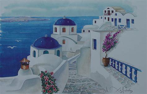 santorini greece blue churches painting by helidon