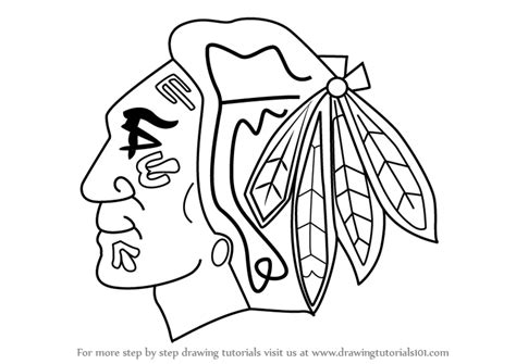 step by step how to draw chicago blackhawks logo
