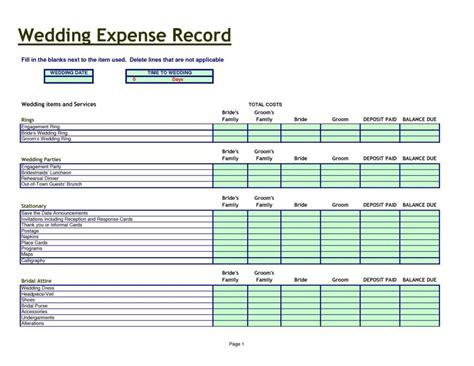 wedding spreadsheet templates wedding planning spreadsheet template event planning