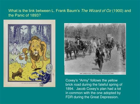 Ppt What Is The Link Between L Frank Baum S The Wizard Of Oz 1900 And The Panic Of 1893 Wizard Of Oz Powerpoint Template