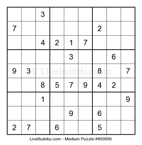 printable sudoku and crossword puzzles live sudoku medium sudoku 800695